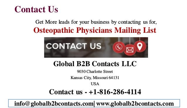 Contact Us Get More leads for your business by contacting us for, Osteopathic Physicians Mailing List Global B2B Contacts ...