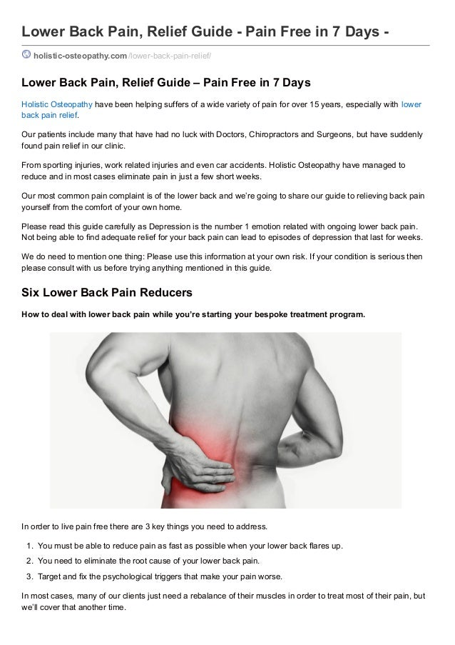 Lower Back Pain Relief Guide Pain Free In 7 Days