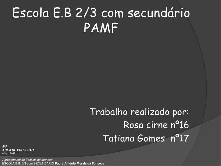 Escola E.B 2/3 com secundário                              PAMF<br />Trabalho realizado por: <br />   Rosa cirne nº16<br /...