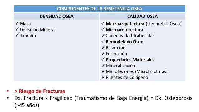 COMPONENTES DE LA RESISTENCIA OSEA DENSIDAD OSEA CALIDAD OSEA  Masa  Densidad Mineral  Tamaño  Macroarquitectura (Geom...