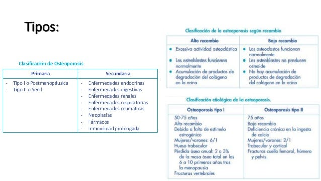 Tipos: Clasificación de Osteoporosis Primaria Secundaria - Tipo I o Postmenopáusica - Tipo II o Senil - Enfermedades endoc...