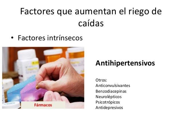 Factores que aumentan el riego de caídas • Factores intrínsecos Antihipertensivos Otros: Anticonvulsivantes Benzodiacepina...