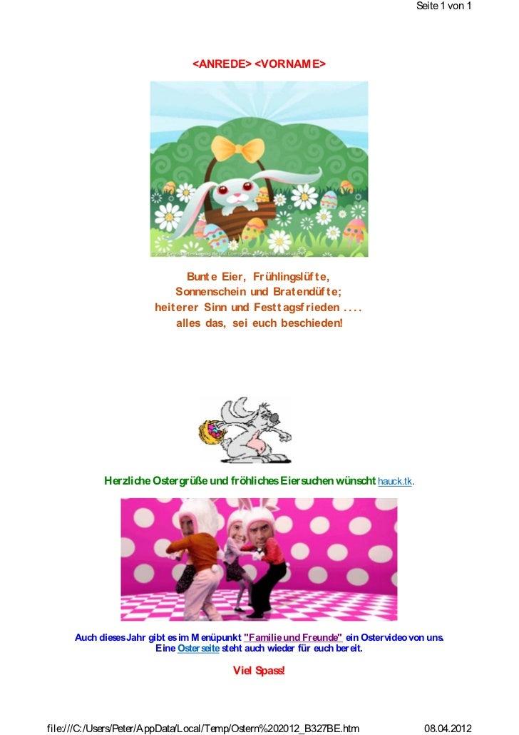 Seite 1 von 1                               <ANREDE> <VORNAM E>                              Bunt e Eier, Frühlingslüf t e...