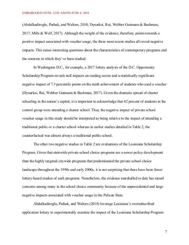 EMBARGOED UNTIL 12:01 AM ON JUNE 4, 2018 7 (Abdulkadiroglu, Pathak, and Walters, 2018; Dynarksi, Rui, Webber Gutmann & Bac...