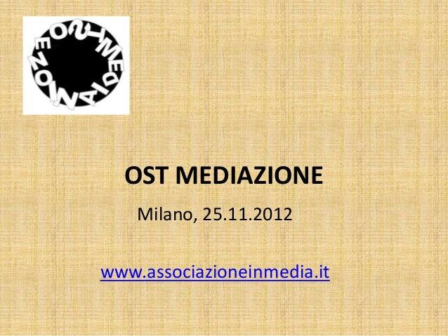 OST MEDIAZIONE    Milano, 25.11.2012www.associazioneinmedia.it