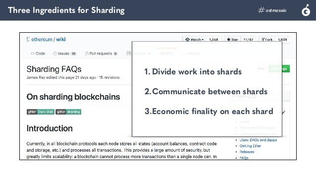 Three Ingredients for Sharding ostmosaic 1. Divide work into shards 2.Communicate between shards 3.Economic finality on e...