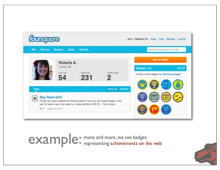 example:   more and more, we see badges           representing achievements on the web