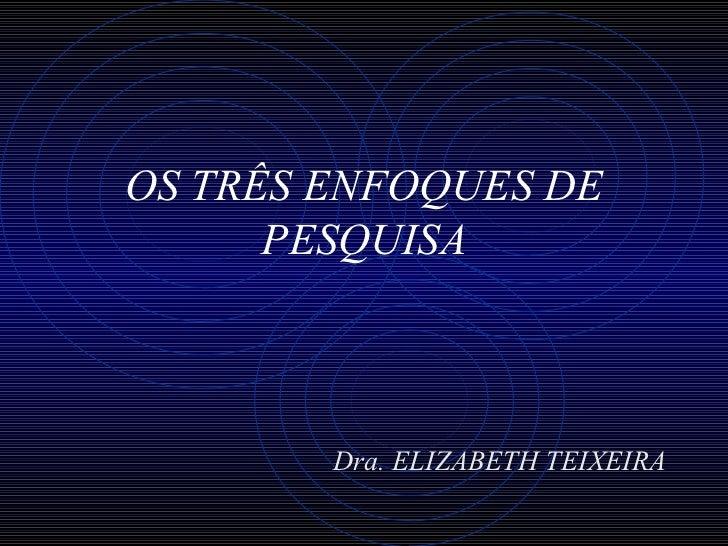 OS TRÊS ENFOQUES DE PESQUISA <ul><li>Dra. ELIZABETH TEIXEIRA </li></ul>