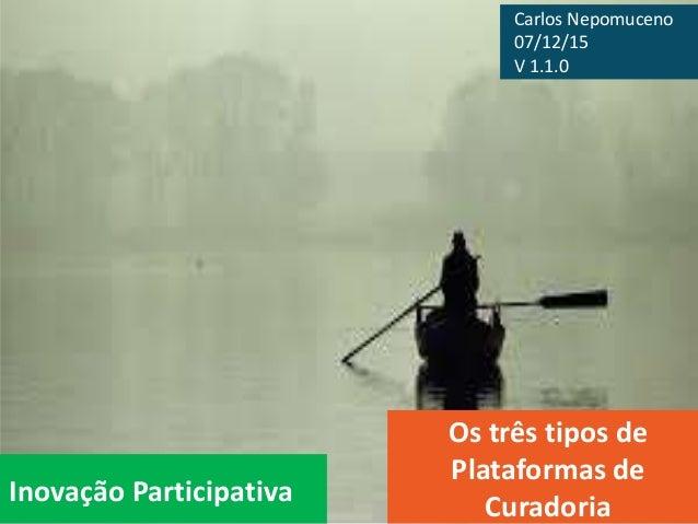 Inovação Participativa Os três tipos de Plataformas de Curadoria Carlos Nepomuceno 07/12/15 V 1.1.0