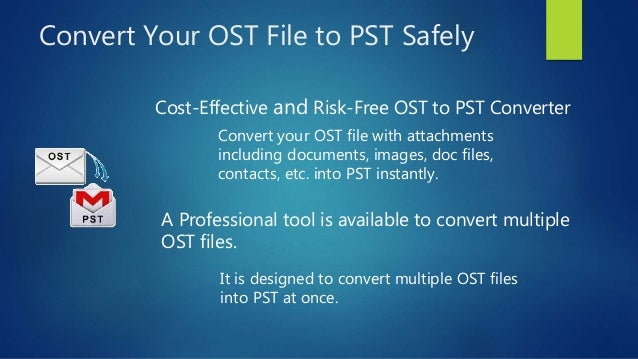OST to PST converter is an incredible recovery tool for orphaned OST file. It recovers inaccessible OST file and export entire OST to PST file.