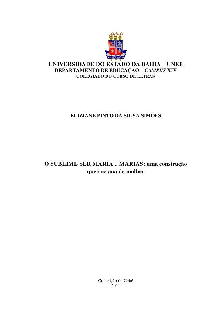UNIVERSIDADE DO ESTADO DA BAHIA – UNEB   DEPARTAMENTO DE EDUCAÇÃO – CAMPUS XIV          COLEGIADO DO CURSO DE LETRAS      ...