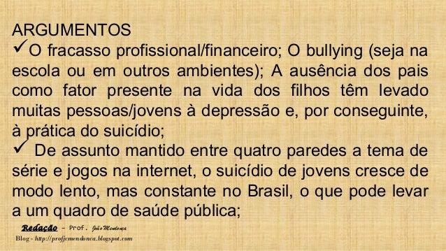 Redação – Prof. João Mendonça Blog - http://profjcmendonca.blogspot.com ARGUMENTOS O fracasso profissional/financeiro; O ...
