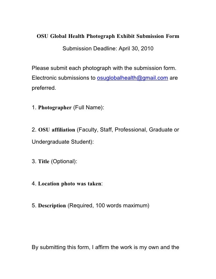 OSU Global Health Photograph Exhibit Submission Form               Submission Deadline: April 30, 2010   Please submit eac...