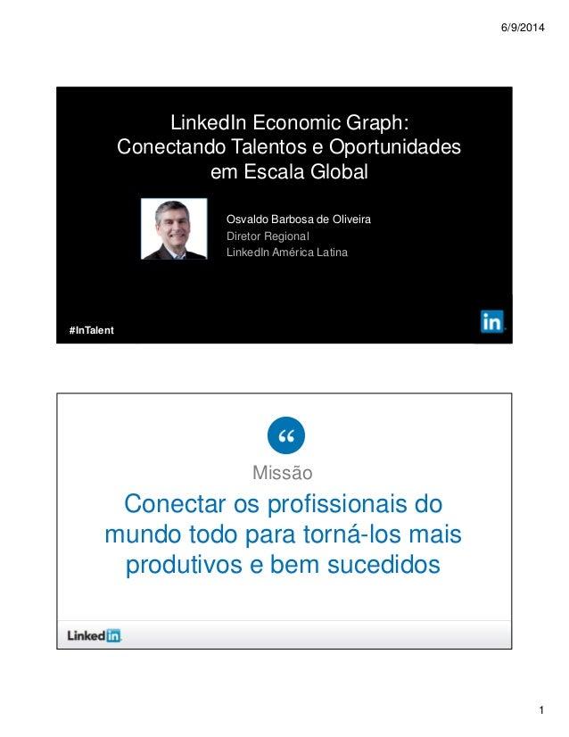6/9/2014 1 ©2013 LinkedIn Corporation. All Rights Reserved. Osvaldo Barbosa de Oliveira Diretor Regional LinkedIn América ...