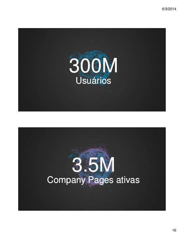6/9/2014 16 300M300M UsuáriosUsuários 3.5M3.5M Company Pages ativasCompany Pages ativas