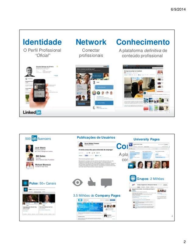 """6/9/2014 2 3 Network Conectar profissionais Identidade O Perfil Profissional """"Oficial"""" Conhecimento A plataforma definitiv..."""