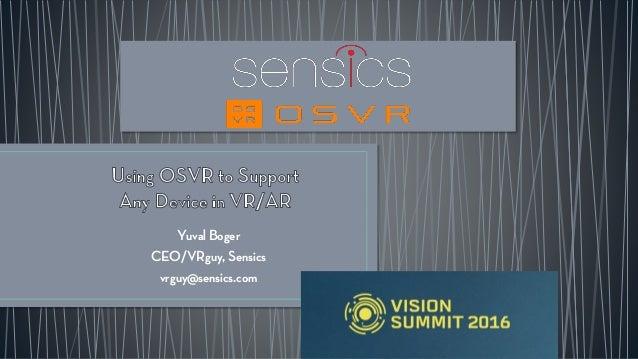 Yuval Boger CEO/VRguy, Sensics vrguy@sensics.com