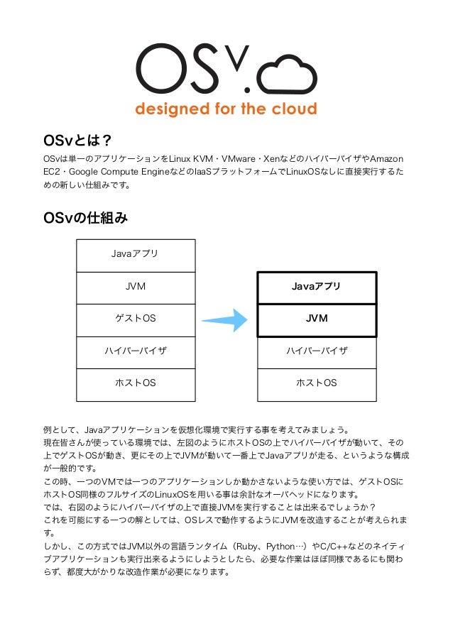 ! ! ! ! ! ! ! OSvとは? OSvは単一のアプリケーションをLinux KVM・VMware・XenなどのハイパーバイザやAmazon EC2・Google Compute EngineなどのIaaSプラットフォームでLinuxO...