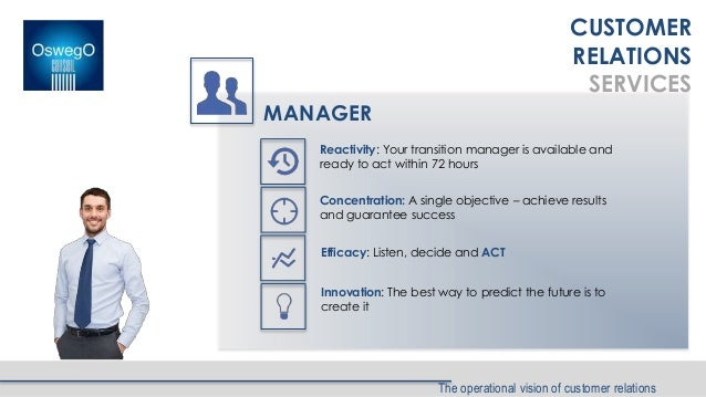 The operational vision of customer relations CUSTOMER RELATIONS SERVICES MANAGER Reactivity: Your transition manager is av...