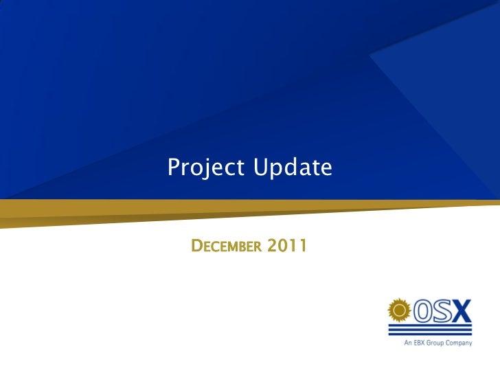 Project Update  DECEMBER 2011