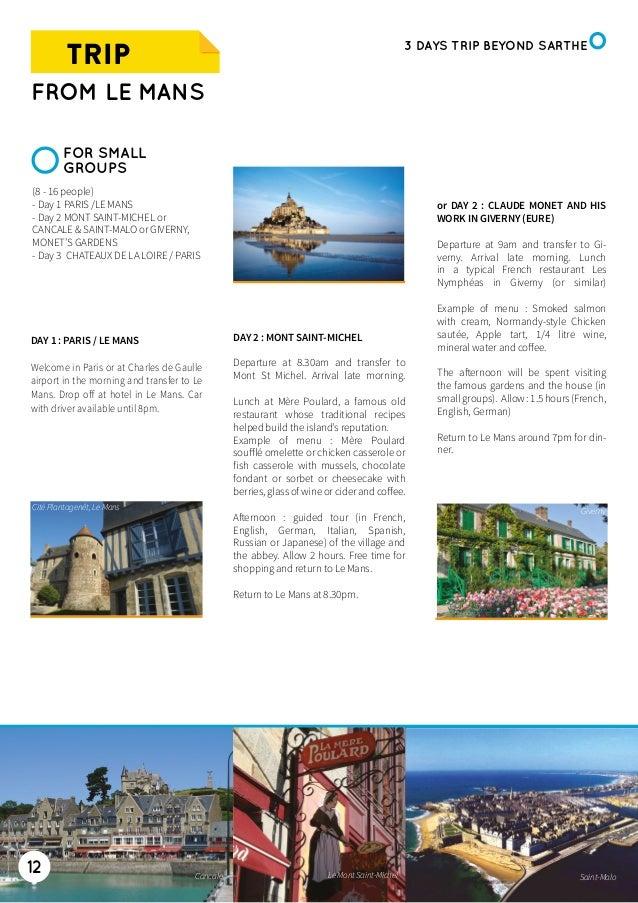 Groups Brochure 2015 2016 Gb Le Mans Tourist Office