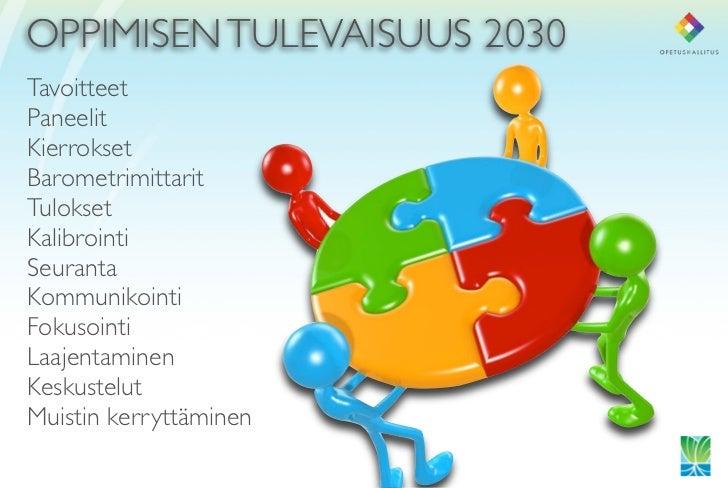 OPPIMISEN TULEVAISUUS 2030 Tavoitteet Paneelit Kierrokset Barometrimittarit Tulokset Kalibrointi Seuranta Kommunikointi Fo...