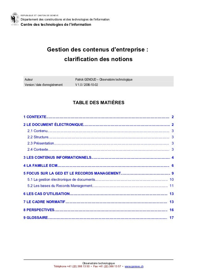 REPUBLIQUE ET CANTON DE GENEVEDépartement des constructions et des technologies de linformationCentre des technologies de ...