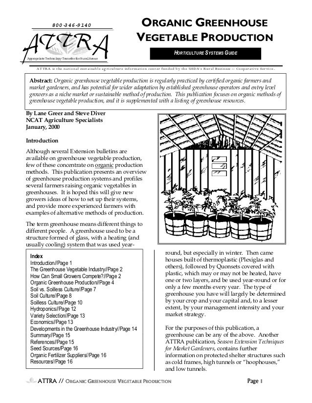 8003469140  ORGANIC GREENHOUSE VEGETABLE PRODUCTION HORTICULTURE SYSTEMS GUIDE  Appr i e Technol Tr opr at ogy ansf f Rur ...