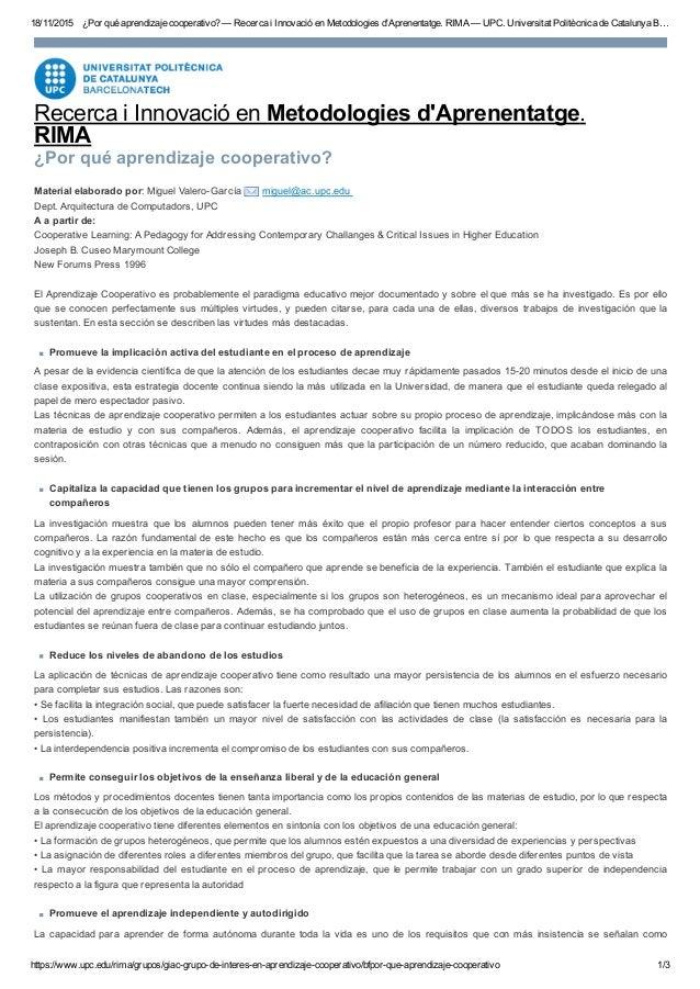 18/11/2015 ¿Porquéaprendizajecooperativo?—RecercaiInnovacióenMetodologiesd'Aprenentatge.RIMA—UPC.Universitat...