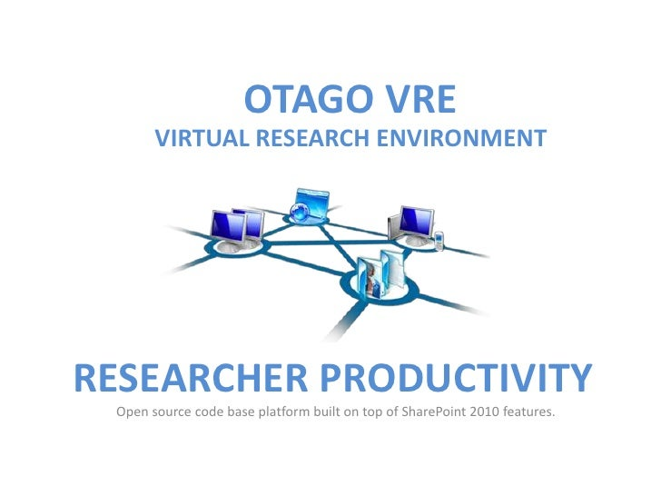 OTAGO VRE       VIRTUAL RESEARCH ENVIRONMENTRESEARCHER PRODUCTIVITY Open source code base platform built on top of SharePo...