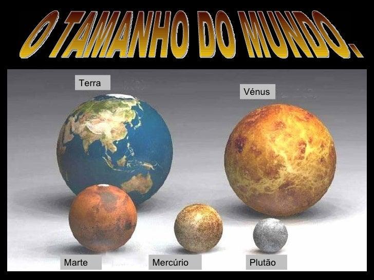 Terra Plutão Marte Mercúrio Vénus O TAMANHO DO MUNDO.