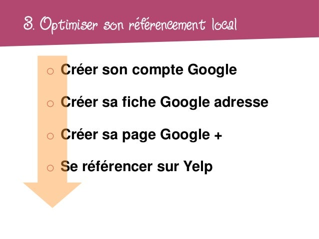 3. Optimiser son référencement local   o Créer son compte Google   o Créer sa fiche Google adresse   o Créer sa page Googl...