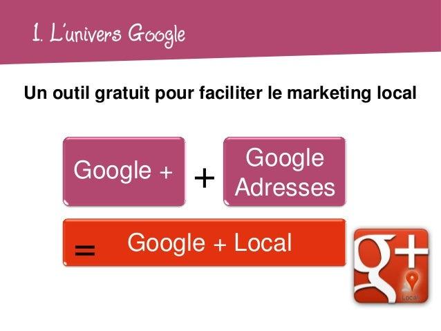 1. L'univers GoogleUn outil gratuit pour faciliter le marketing local                            Google      Google +     ...