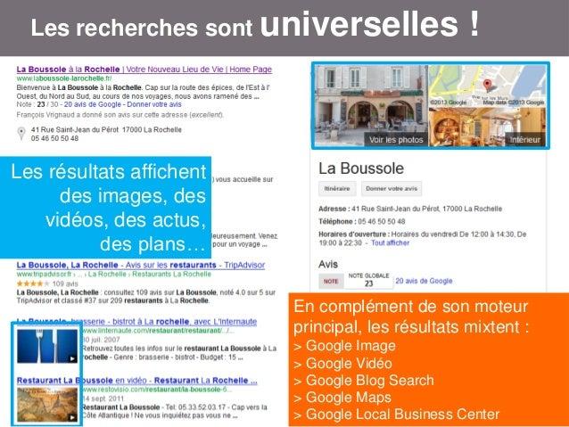 Les recherches sont universelles  !  Les résultats affichent des images, des vidéos, des actus, des plans… En complément d...