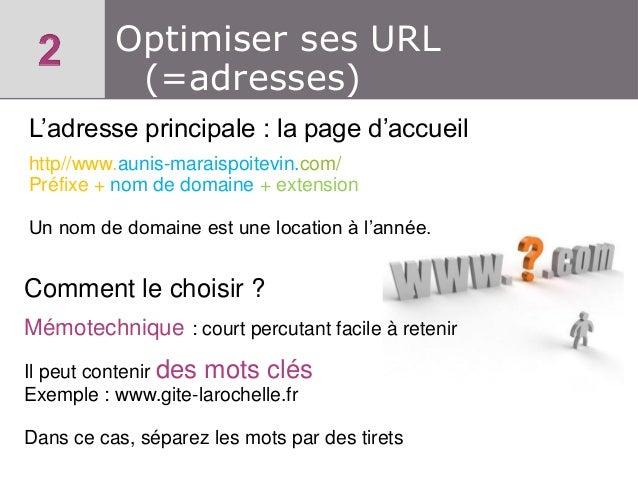 Optimiser ses URL (=adresses) L'adresse principale : la page d'accueil http//www.aunis-maraispoitevin.com/ Préfixe + nom d...