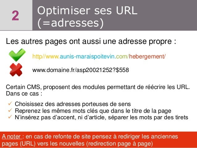 Optimiser ses URL (=adresses) Les autres pages ont aussi une adresse propre : http//www.aunis-maraispoitevin.com/hebergeme...
