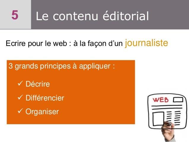 Le contenu éditorial Ecrire pour le web : à la façon d'un journaliste 3 grands principes à appliquer :  Décrire  Différe...
