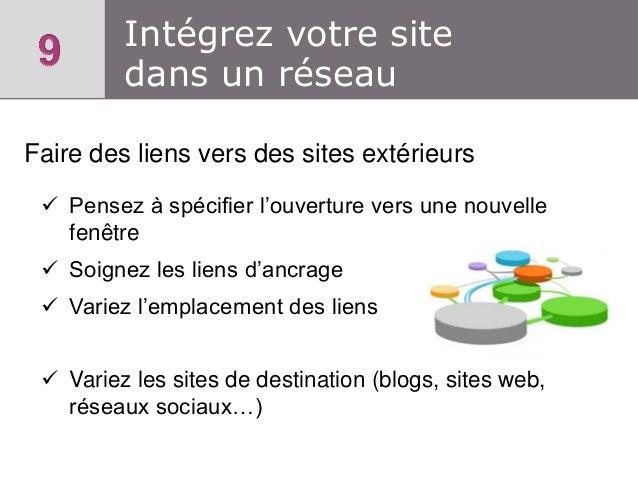 Intégrez votre site dans un réseau Faire des liens vers des sites extérieurs  Pensez à spécifier l'ouverture vers une nou...
