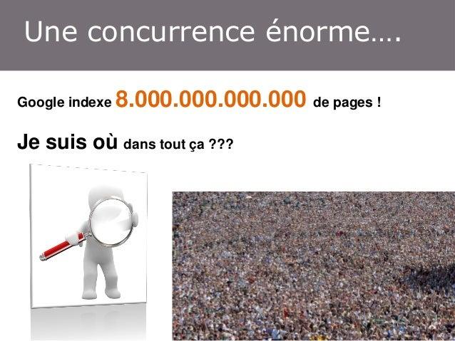 Une concurrence énorme…. Google indexe  8.000.000.000.000 de pages !  Je suis où dans tout ça ???