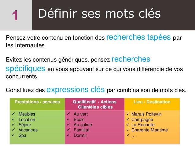 Définir ses mots clés Prestations / services Qualificatif / Actions Clientèles cibles Lieu / Destination  Meublés  Locat...