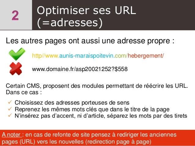 Les autres pages ont aussi une adresse propre : http//www.aunis-maraispoitevin.com/hebergement/ www.domaine.fr/asp20021252...
