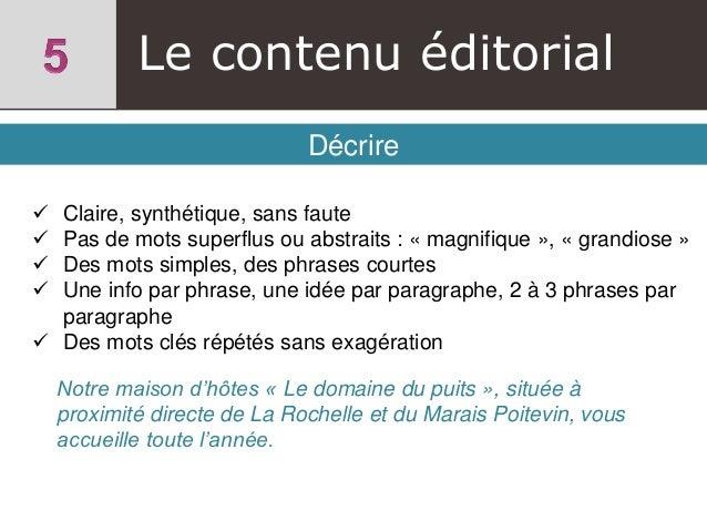 Le contenu éditorial Décrire  Claire, synthétique, sans faute  Pas de mots superflus ou abstraits : « magnifique », « gr...