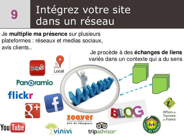 Intégrez votre site dans un réseau Je multiplie ma présence sur plusieurs plateformes : réseaux et medias sociaux, avis cl...