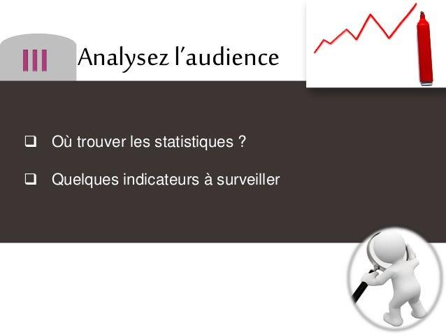 Analysez l'audience  Où trouver les statistiques ?  Quelques indicateurs à surveiller