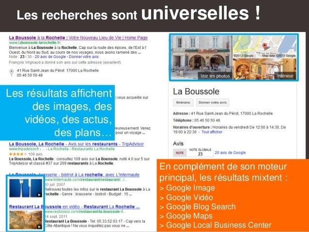 Les recherches sont universelles ! En complément de son moteur principal, les résultats mixtent : > Google Image > Google ...