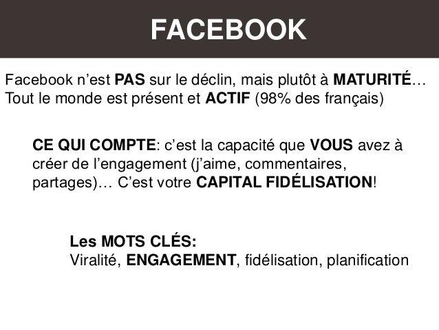 FACEBOOK Facebook n'est PAS sur le déclin, mais plutôt à MATURITÉ… Tout le monde est présent et ACTIF (98% des français) C...