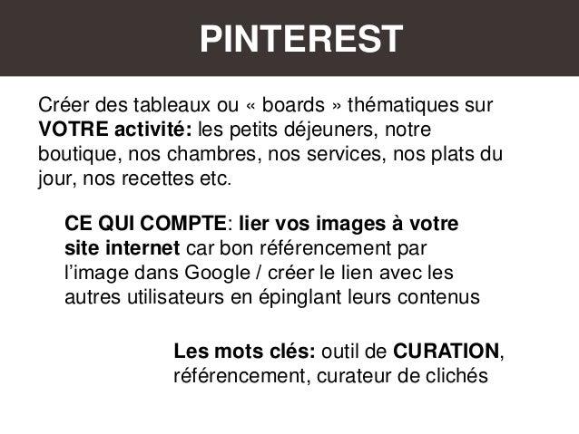 PINTEREST CE QUI COMPTE: lier vos images à votre site internet car bon référencement par l'image dans Google / créer le li...
