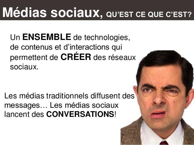 Médias sociaux, QU'EST CE QUE C'EST? Un ENSEMBLE de technologies, de contenus et d'interactions qui permettent de CRÉER de...