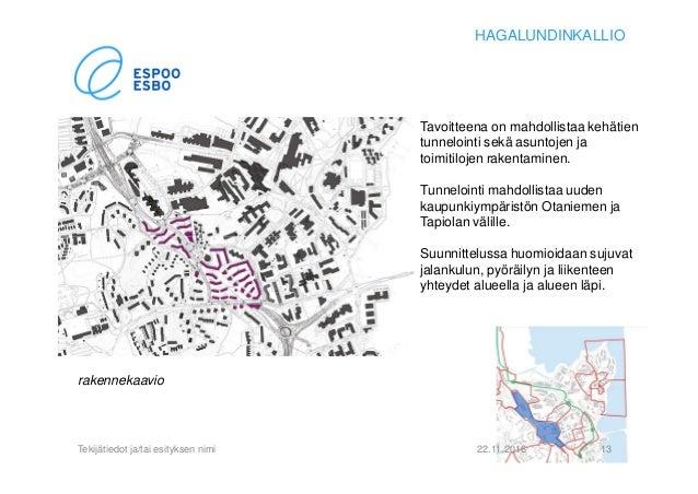 22.11.2016Tekijätiedot ja/tai esityksen nimi 13 HAGALUNDINKALLIO Tavoitteena on mahdollistaa kehätien tunnelointi sekä asu...