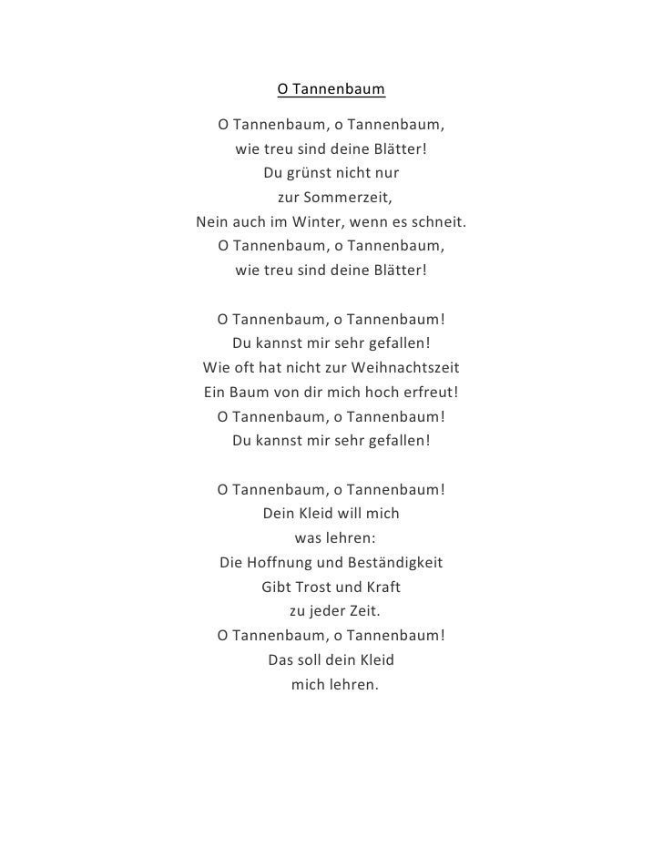 Oh Christmas Tree Lyrics German